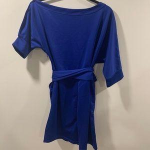 Short jumpsuit/romper with belt royal blue